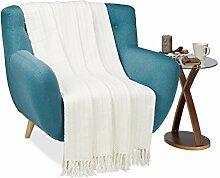 Relaxdays Wohndecke weiß, Kuscheldecke aus Baumwolle, Wolldecke mit Zopfmuster, Tagesdecke warm, B x T: ca. 130 x 170 cm