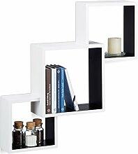 Relaxdays Würfel Regal, Hängeregal Cube für Wand, freischwebendes Wandboard groß, MDF, HBT: 66x66x15 cm, weiß/schwarz