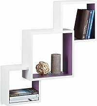 Relaxdays Würfel Regal, Hängeregal Cube für Wand, freischwebendes Wandboard groß, MDF, HBT: 66x66x15 cm, weiß/viole
