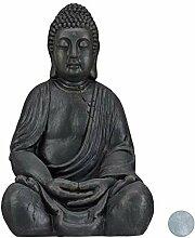 Relaxdays XL Buddha Figur sitzend, 50 cm hoch,