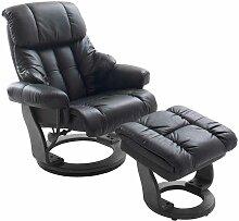 Relaxsessel aus Leder Schwarz mit Hocker