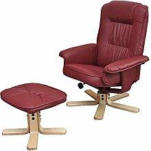 Relaxsessel Fernsehsessel Sessel mit Hocker M56 Kunstleder ~ bordeaux