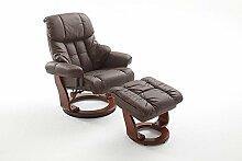Relaxsessel, Fernsehsessel, TV Sessel, Funktionsessel, Hocker, Loungesessel, Lesesessel, Relaxliege, Echtleder, Leder, braun, walnuss