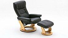 Relaxsessel, Fernsehsessel, TV Sessel, Funktionsessel, Hocker, Loungesessel, Lesesessel, Relaxliege, Echtleder, Leder, schwarz, natur