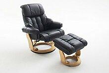 Relaxsessel, Fernsehsessel, TV Sessel, Funktionsessel, Hocker, Loungesessel, Lesesessel, Relaxliege, Echtleder, Leder, schwarz, naturfarben