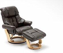 Relaxsessel, Fernsehsessel, TV Sessel, Funktionsessel, Hocker, Loungesessel, Lesesessel, Relaxliege, Echtleder, Leder, braun, natur