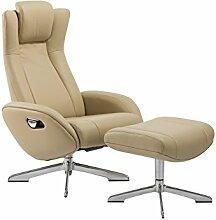 Relaxsessel, Fernsehsessel, TV Sessel, Funktionsessel, Hocker, Loungesessel, Lesesessel, Relaxliege, Echtleder, Leder, creme, Chrom-Optik