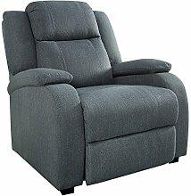 Relaxsessel HOLLYWOOD grau Stoff verstellbar Liegesessel Sessel Fernsehsessel Wohnzimmer mit Liegefunktion Strukturstoff