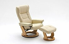 Relaxsessel Leder | beige | Hocker | Fernsehsessel | Lesesessel | Ruhesessel | Wohnzimmersessel | Breite ca. 83 cm