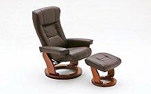 Relaxsessel Leder | braun| Hocker | Fernsehsessel | Lesesessel, Ruhesessel | Wohnzimmersessel | Breite ca. 83 cm
