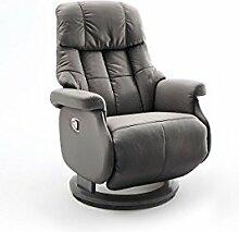 Relaxsessel, Sessel, Fernsehsessel, Ledersessel, TV-Sessel, Loungesessel, Lesesessel, Funktionssessel, schlamm, schwarz, manuelle Verstellung