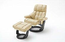 Relaxsessel, Sessel, Fernsehsessel, Ledersessel, TV-Sessel, Loungesessel, Lesesessel, Funktionssessel, creme, schwarz, XXL