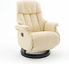Relaxsessel, Sessel, Fernsehsessel, Ledersessel, TV-Sessel, Loungesessel, Lesesessel, Funktionssessel, creme, schwarz, manuelle Verstellung