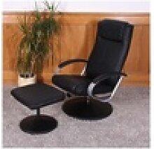Relaxsessel Siena mit Hocker ~ schwarz