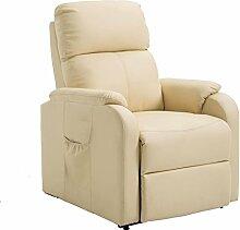 Relaxsessel TV Sessel Fernsehsessel COZY aus Kunstleder in beige mit Fußablage