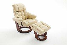 Relaxsessel XXL in Beige mit dunkelbraunem Hocker | Fernsehsessel | Ledersessel | TV-Sessel | Loungesessel | Lesesessel | Funktionssessel