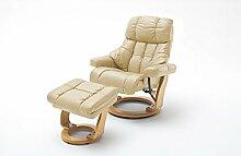 Relaxsessel XXL in Beige mit hellbraunem Hocker | Fernsehsessel | Ledersessel | TV-Sessel | Loungesessel | Lesesessel | Funktionssessel