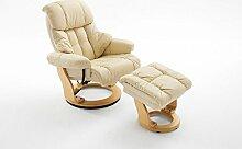 Relaxsessel XXL in Beige mit natürlichem Hocker | Fernsehsessel | Ledersessel | TV-Sessel | Loungesessel | Lesesessel | Funktionssessel