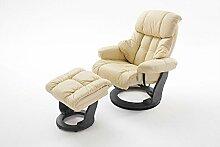 Relaxsessel XXL in Beige mit schwarzem Hocker | Fernsehsessel | Ledersessel | TV-Sessel | Loungesessel | Lesesessel | Funktionssessel