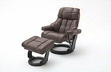 Relaxsessel XXL in Braun mit schwarzem Hocker | Fernsehsessel | Ledersessel | TV-Sessel | Loungesessel | Lesesessel | Funktionssessel
