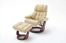 Relaxsessel XXL Leder, beige, Hocker | Fernsehsessel | Mega-Sessel | Big Sessel | großer Ruhesessel | Schlafsessel