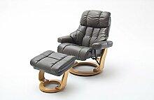 Relaxsessel XXL Leder, grau, Hocker   Fernsehsessel   Mega-Sessel   Big Sessel   großer Ruhesessel   Schlafsessel