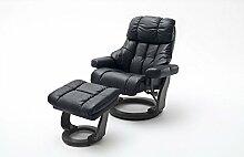 Relaxsessel XXL Leder | schwarz | Hocker | Wohnzimmersessel | Lesesessel | Fernsehsessel | Ledersessel | Breite 62 cm