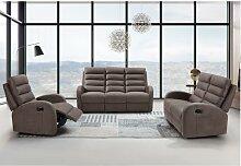 Relaxsofa 2-Sitzer GIORGIA - Stoff - Braun