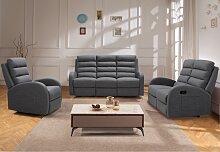 Relaxsofa 2-Sitzer GIORGIA - Stoff - Grau