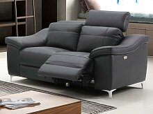 Relaxsofa elektrisch 2-Sitzer CAROLE - Leder -