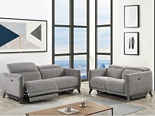 Relaxsofa elektrisch 2-Sitzer CEROLA - Stoff - Grau