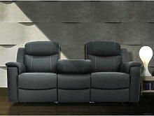 Relaxsofa Leder 3-Sitzer Evasion - Anthrazit