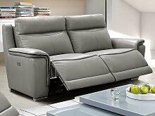 Relaxsofa Leder elektrisch 3-Sitzer Paosa - Grau