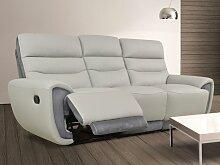Relaxsofa Leder mit Microfaserdetails 3-Sitzer