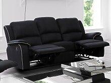 Relaxsofa Microfaser 3-Sitzer HERNANI - Schwarz