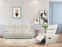 Relaxsofagarnitur Leder mit Microfaserdetails