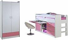 Relita BH1184117+ZB1184123+ZT1814117+ZB1814123 Set-Bonny Hochbett und Kleiderschrank 2-tragen, Liegefläche 90 x 200 cm, Spanplatte Dekor beschichtet weiß / rosa