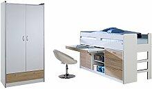 Relita BH1184117+ZB1184190+ZT1814117+ZB1814190 Set-Bonny Hochbett und Kleiderschrank 2-tragen, Liegefläche 90 x 200 cm, Spanplatte Dekor beschichtet weiß / Sonoma