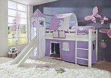 Relita Hochbett Toby Massivholz weiß, Rutsche, Turm, Stoff purp/weiß purple/weiß