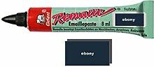 Remalle Emaille Paste Emaillelack Reparaturlack Lack in vielen Farben je 8 ml + Pinsel fuer jede Tube (ebony)