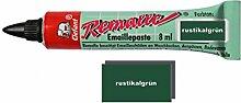 Remalle Emaille Paste Emaillelack Reparaturlack Lack in vielen Farben je 8 ml + Pinsel fuer jede Tube (rustikalgrün)