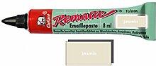 Remalle Emaille Paste Emaillelack Reparaturlack Lack in vielen Farben je 8 ml + Pinsel fuer jede Tube (jasmin)