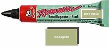 Remalle Emaille Paste Emaillelack Reparaturlack Lack in vielen Farben je 8 ml + Pinsel fuer jede Tube (moosgrün)