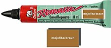 Remalle Emaille Paste Emaillelack Reparaturlack Lack in vielen Farben je 8 ml + Pinsel fuer jede Tube (majolika-braun)