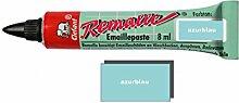 Remalle Emaille Paste Emaillelack Reparaturlack Lack in vielen Farben je 8 ml + Pinsel fuer jede Tube (azurblau)