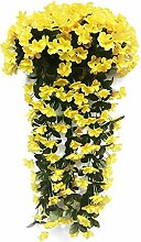 Remeehi rosa-Girlande, Rosa-Grün mit Blätter Ivy Aufhängen Deko Hochzeit Party-, Garten-, Tür, Balkon Deko, gelb, 2pcs