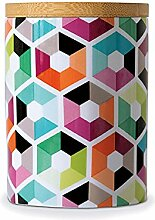 Remember Porzellandose klein mit Holzdeckel Hexagon