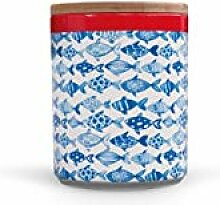 Remember Porzellandose mit Holzdeckel Fish
