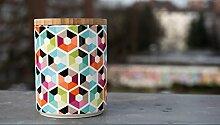 Remember Porzellandose mit Holzdeckel Hexagon