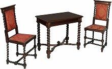 Renaissance Frisiertisch mit 2 Stühle, 19. Jh.